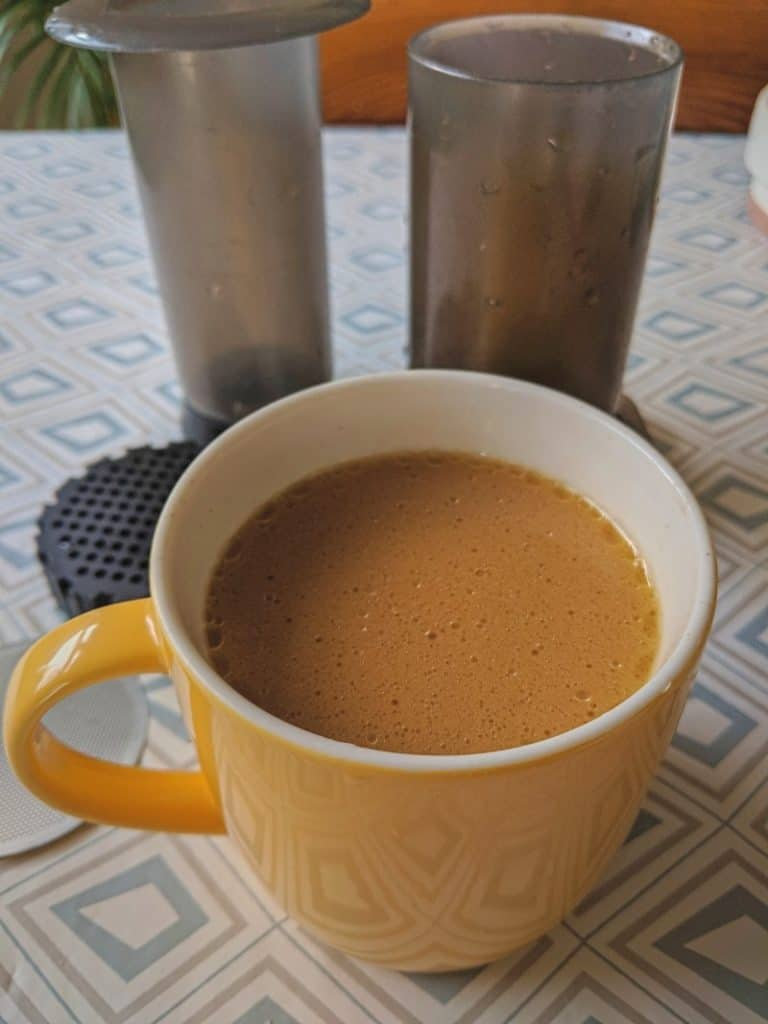 bulletproof butter coffee and aeropress for keto morning drink